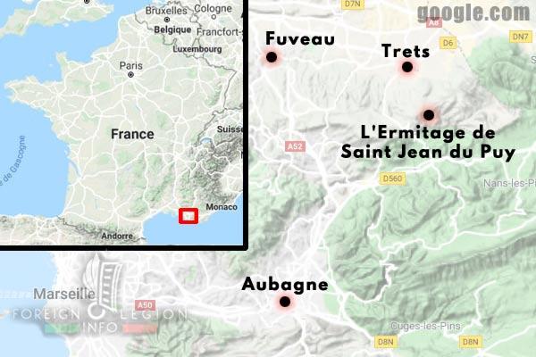 11e REI - 11 REI - Legion Etrangere - France - 1940 - Aubagne - Fuveau - Trets - Saint Jean du Puy - Map