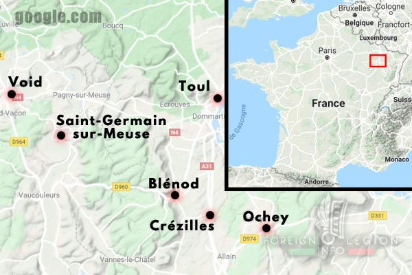 11e REI - 11 REI - Legion Etrangere - France - 1940 - Stenay - Verdun - Void - Saint-Germain-sur-Meuse - Blénod - Crézilles - Ochey - Map