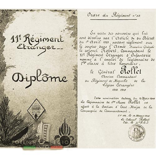 11e REI - 11 REI - Legion Etrangere - 1940 - Diplome - General Rollet
