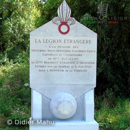 12e REI - 12 REI - Legion Etrangere - France - Stèle commémorative - La Malmaison - Chemin des Dames