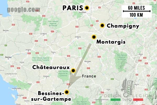 12e REI - 12 REI - Legion Etrangere - France - 1940 - Champigny - Montargis - Châteauroux - Bessines-sur-Gartempe - Repli - Map