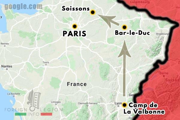 12e REI - 12 REI - Legion Etrangere - France - 1940 - La Valbonne - Bar-le-Duc - Soissons - Map