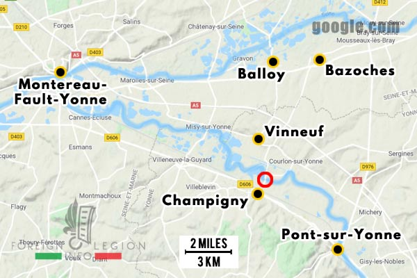 12e REI - 12 REI - Legion Etrangere - France - 1940 - Montereau-Fault-Yonne - Bazoches - Balloy - Vinneuf - Map
