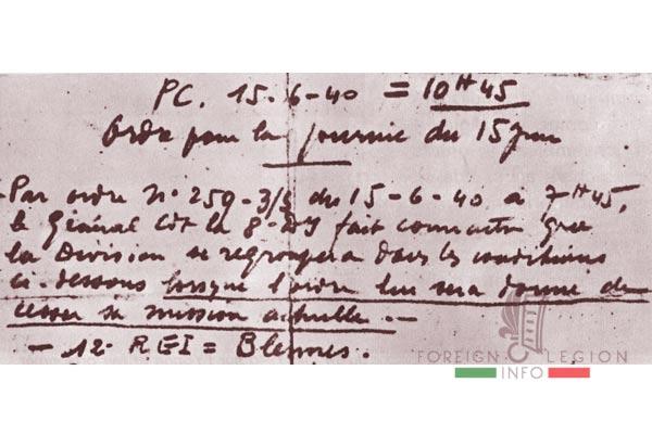 12e REI - 12 REI - Legion Etrangere - France - L'ordre du colonel Besson du 15 juin 1940