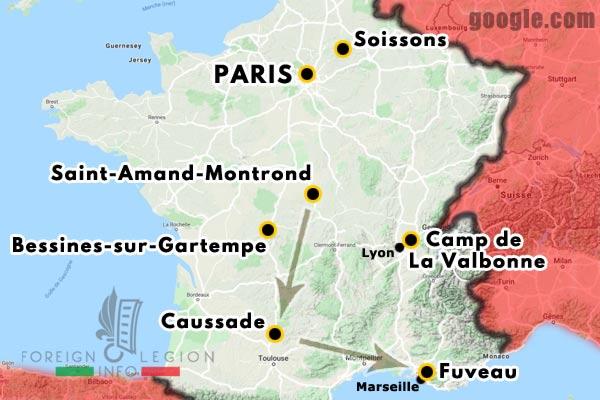 12e REI - 12 REI - Legion Etrangere - France - 1940 - Saint-Amand-Montrond - Caussade - Marseille - Fuveau - Map