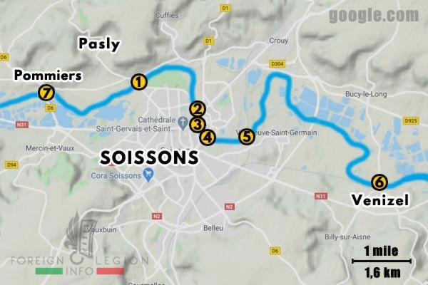 12e REI - 12 REI - Foreign Legion - France - 1940 - Soissons - Bridges - Map
