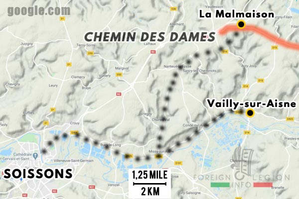 12e REI - 12 REI - Legion Etrangere - France - 1940 - Soissons - Chemin des Dames - Map
