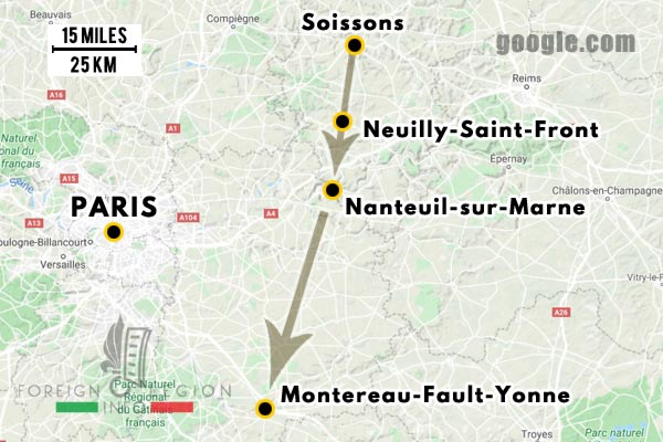 12e REI - 12 REI - Legion Etrangere - France - 1940 - Soissons - Montereau-Fault-Yonne - Repli - Map
