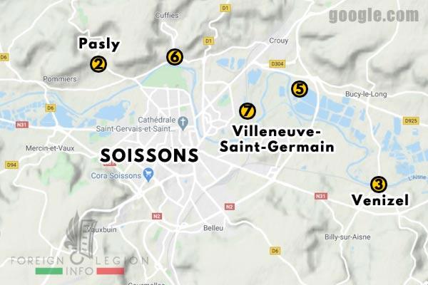 12e REI - 12 REI - Legion Etrangere - France - 1940 - Soissons - Positions - Map