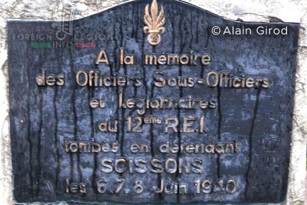 12e REI - 12 REI - Legion Etrangere - France - Plaque commémorative - Soissons