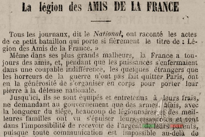Legion of Friends of France - article