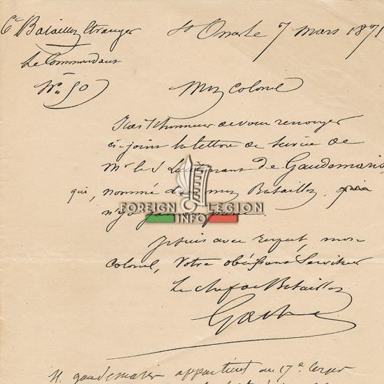 6th Battalion, Foreign Regiment - documents - 1871