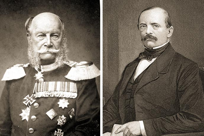 Prussian King William I - Federal chancellor Otto von Bismarck