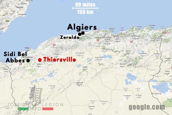 1er REP - 1 REP - Foreign Legion Etrangere - 1961 - Thiersville - Algeria - Map