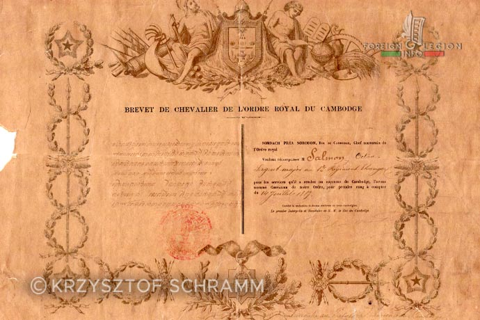1st Foreign Regiment - Foreign Legion - Royal Order of Cambodia - 1887