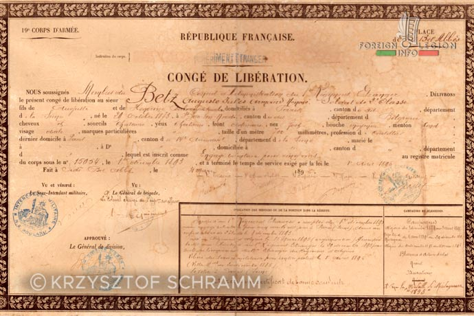 1st Foreign Regiment - Foreign Legion - Legionnaires - Document - 1896
