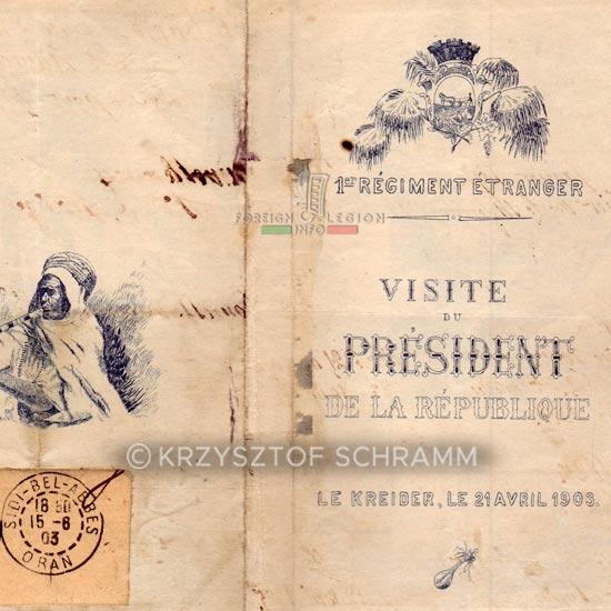 1st Foreign Regiment - Foreign Legion - President - commemorative card - 1903