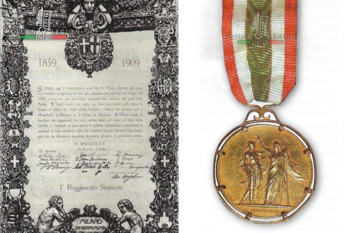 1st Foreign Regiment - Foreign Legion - Milan Medal - 1909