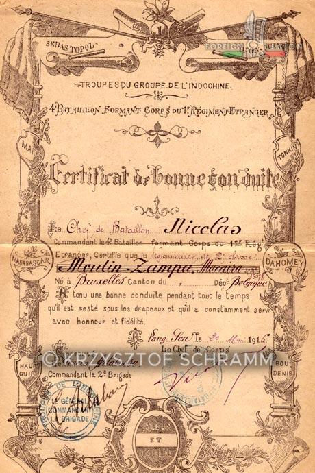1st Foreign Regiment - Foreign Legion - Indochina - Tonkin - Honorable discharge certificate - Certificat de bonne conduite - 4th Battalion - Major Nicolas - 1916