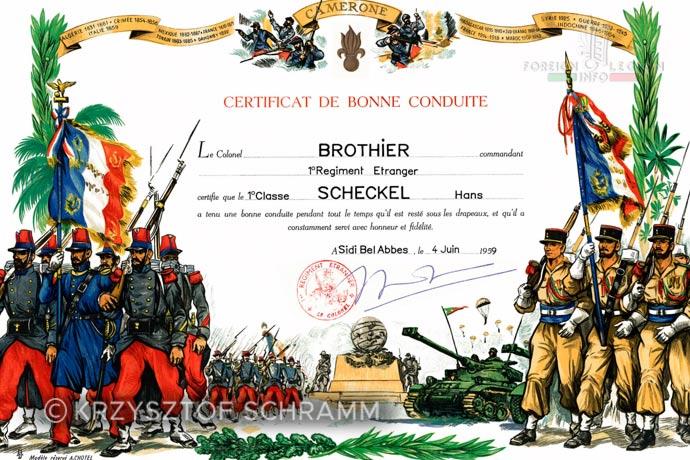 1st Foreign Regiment - Foreign Legion - Honorable discharge certificate - Certificat de bonne conduite - 1959