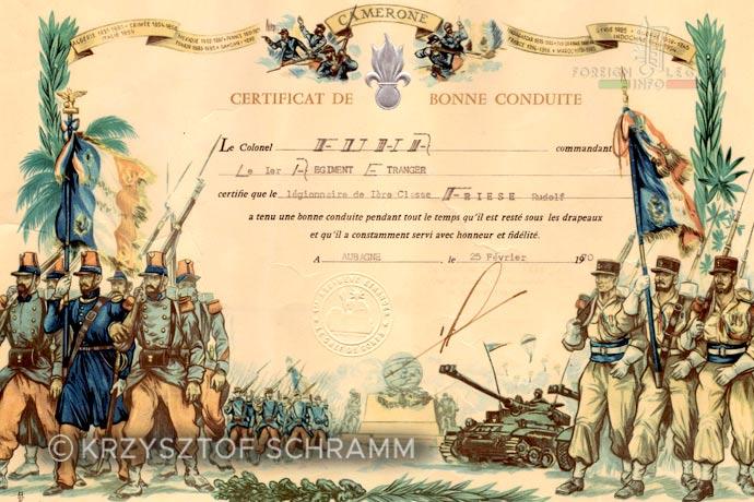 1st Foreign Regiment - Foreign Legion - Honorable discharge certificate - Certificat de bonne conduite - 1970