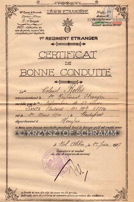 1st Foreign Infantry Regiment - Foreign Legion - Honorable discharge certificate - Certificat de bonne conduite - 1927