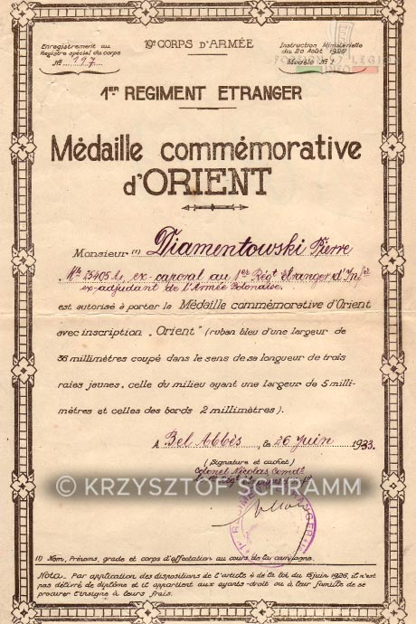 1st Foreign Regiment - Foreign Legion - Wartime Service Medal certificate - 1933