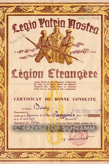 1st Foreign Regiment - Foreign Legion - Algeria - Honorable discharge certificate - Certificat de bonne conduite - 1941