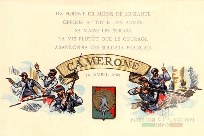 1st Foreign Regiment - Foreign Legion - Camerone Day - Card - 1954 - 1er REI badge