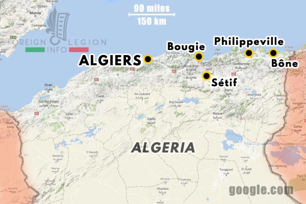Second Foreign Legion - 2nd Legion - Swiss Legion - 1st Foreign Regiment - 1856-59 - Algeria - Map