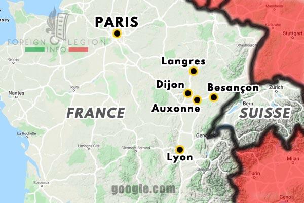 Deuxième Légion Etrangère - 2e Légion - Légion Suisse - Legionnaires - Garnisons - Map