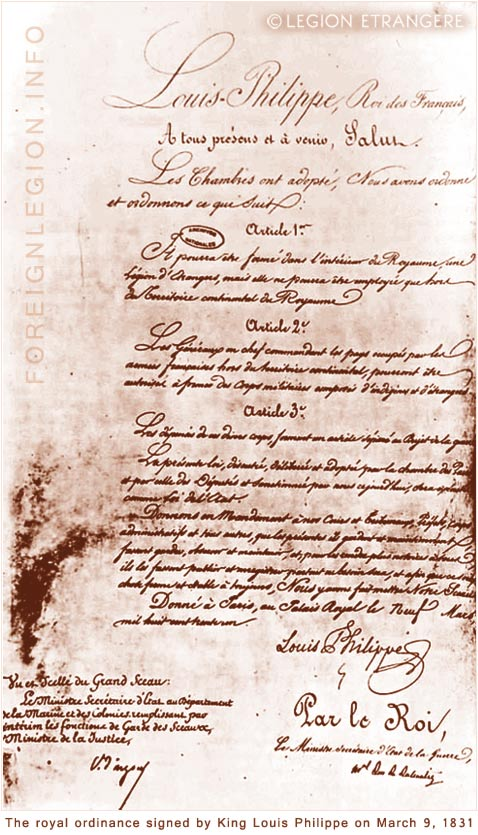 Legion - Ordinance of King Louis Philippe 1831