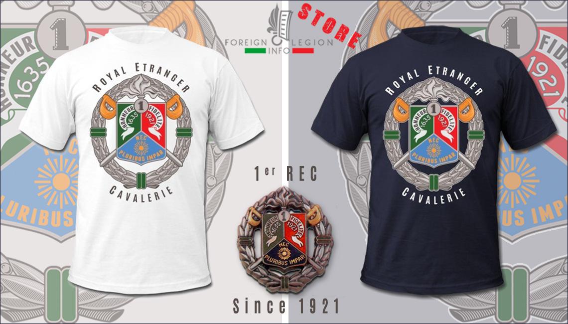 1er REC - 1 REC - Tee - Foreign Legion Etrangere - Foreign Cavalry Regiment - T-shirt