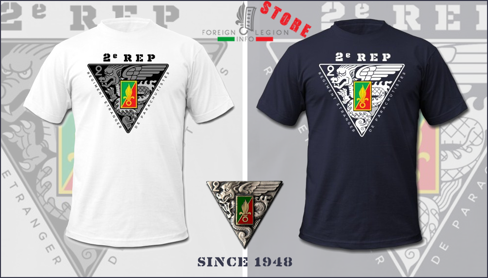 2e REP - 2 REP - Tee - Foreign Legion Etrangere - Foreign Parachute Regiment - T-shirt