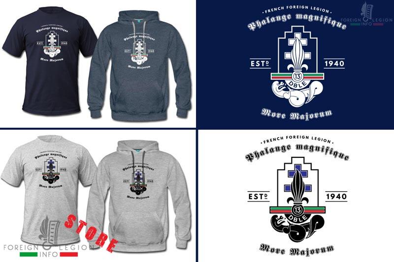 13e DBLE - 13 DBLE - Badge - Insignia - T shirt - Tee - Foreign Legion Etrangere - Half Brigade - Demi Brigade - Phalange magnifique - More majorum