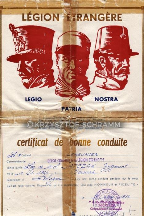 Foreign Legion - Zygmunt Jatczak - Honorable discharge certificate