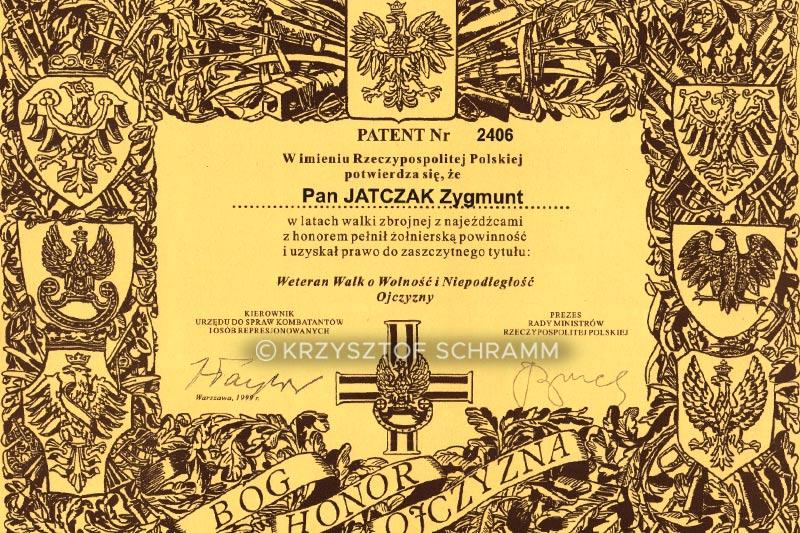 Zygmunt Jatczak - Patent