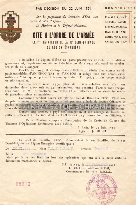 Foreign Legion - Zygmunt Jatczak - Citation