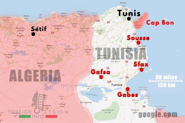 3e BEP - 3 BEP - Tunisia - Map - 1952
