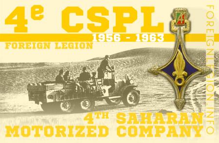 4th Legion Saharan Motorized Company - History - 4e CSPL - 4 CSPL