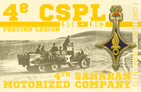 4e Compagnie Saharienne Portée de Légion - 4 CSPL - 4e CSPL - 4th Legion Saharan Motorized Company's History