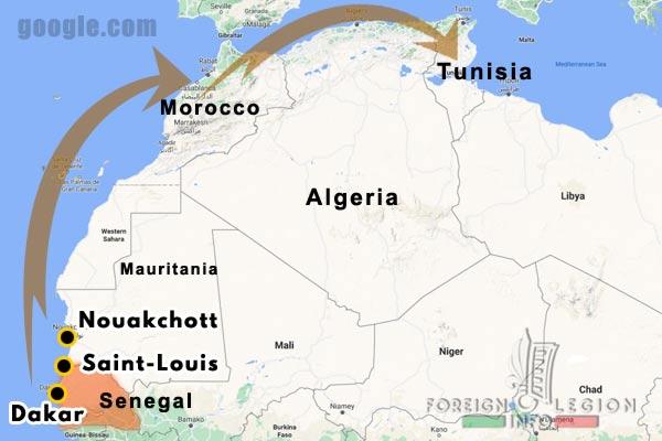 1941-1943 - 4e DBLE - 4e Demi-brigade - 4th Foreign Legion Half-brigade - Senegal - Mauritania - garrisons - map