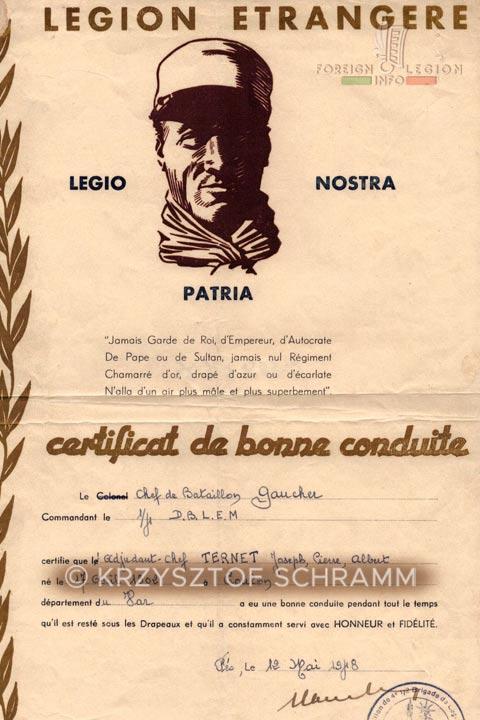 Certificat de bonne conduite - Honorable discharge certificate - 4e DBLEM - 4 DBLEM - Jules Gaucher - Foreign Legion - Morocco - 1948