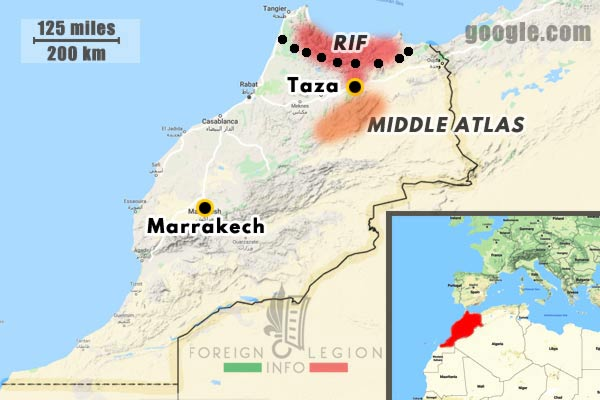 Morocco - 1921-1925 - 4th Foreign Regiment - 4e RE - operations - map