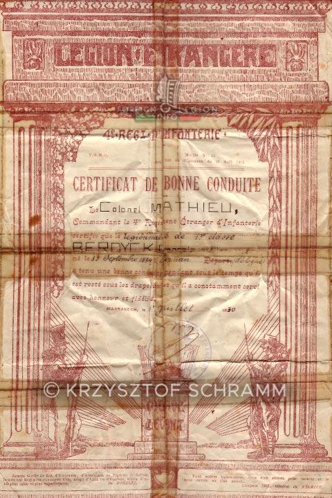 Certificat de bonne conduite - 4e REI - 4 REI - Foreign Legion - Morocco - 1930