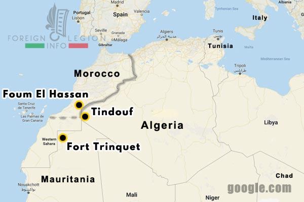 1934-1939 - 4e REI - 4 REI - Foreign Legion - Morocco - garrisons - map