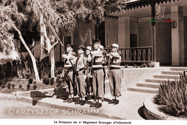 4e REI - 4 REI - 4th Foreign Infantry Regiment - Foreign Legion - Morocco - color guard - flag - 1946