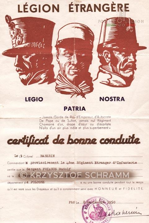 Certificat de bonne conduite - Lieutenant Colonel Raberin - 4e REI - 4 REI - 4th REI - 4th Foreign Infantry Regiment - Foreign Legion - Morocco - 1950