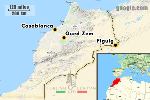 1955-1956 - 4e REI - 4 REI - 4th REI - 4th Foreign Infantry Regiment - Foreign Legion - Morocco - missions - Casablanca - Oued Zem - Figuig - map