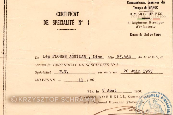 Specialization Certificate - 4e REI - 4 REI - 4th REI - 4th Foreign Infantry Regiment - Foreign Legion - Morocco - 1955-1956
